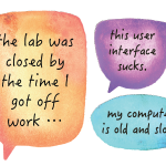 "selection of student comments that say ""The lab was closed by the time I got off work,"" ""This user interface sucks,"" and ""my computer is old and slow."""