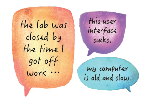 """selection of student comments that say """"The lab was closed by the time I got off work,"""" """"This user interface sucks,"""" and """"my computer is old and slow."""""""